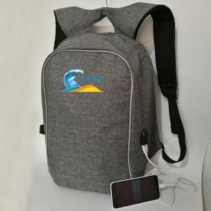 Big Waves Fitness Backpack with USB Port - Grey