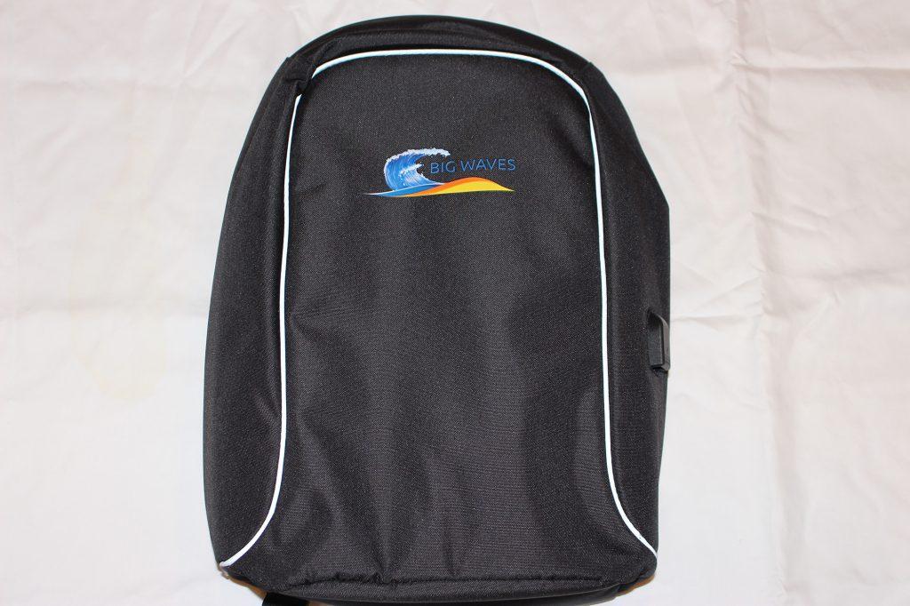 Big Waves Fitness Backpack with USB Port - Black