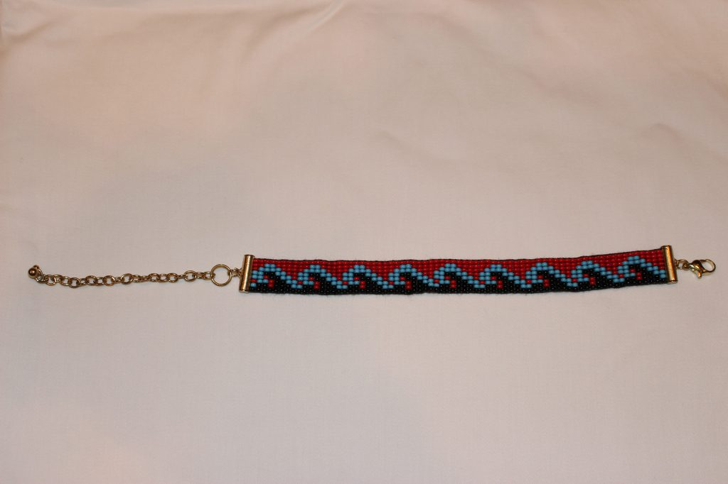 Big Waves Fitness Beaded Bracelet - Black and Red with Blue Waves